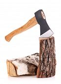 Ax and firewood, isolated on white