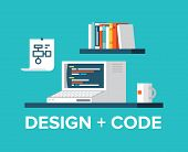stock photo of sketch book  - Flat design style modern vector illustration concept of office workplace with retro computer programming code on a screen web design user interface development website coding - JPG
