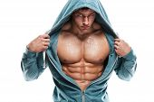 image of six pack  - Strong Athletic Man Fitness Model Torso showing six pack abs - JPG