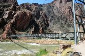 foto of zoroaster  - silver foot bridge across the Colorado River at the bottom of the Grand Canyon Arizona - JPG