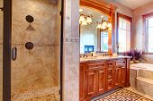 pic of tub  - Luxury bathroom with beautiful vanity glass door shower and bath tub with step - JPG