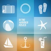 Vector summer poster made from icons with abstract beach background