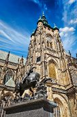 St. Vitus Cathedral and Saint George statue, Prague, Czech republic