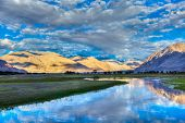 HDR (high dynamic range) image of Nubra river in Nubra valley in Himalayas, Hunder, Ladakh, India