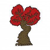 cartoon big red old tree