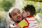 stock photo of muslim kids  - Lifestyle father parenting kids - JPG