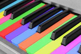 pic of rainbow piano  - Background of colorful piano keyboard - JPG