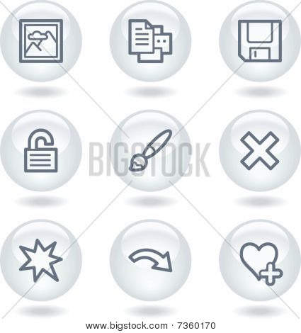 Image viewer web icons set 2, white circle buttons