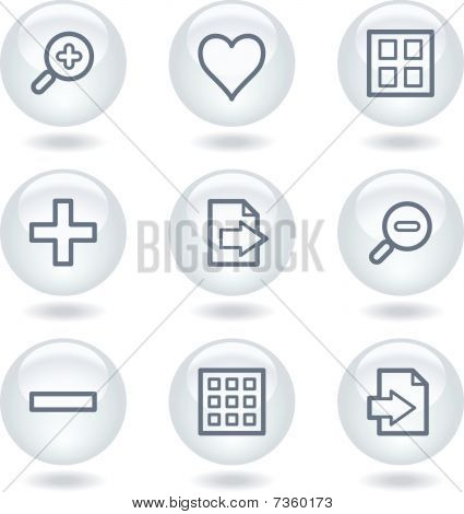 Image viewer web icons set 1, white circle buttons