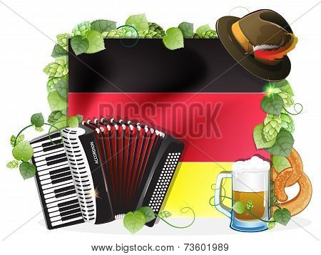 Oktoberfest Background With German Flag