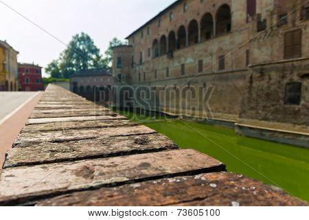 Fortified Wall In Rocca Sanvitale Fontanellato Castle, Italy