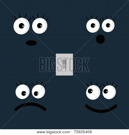 Set Of Cute Funny Face Emotions And Tumbler Light Swith. Flat Design Style