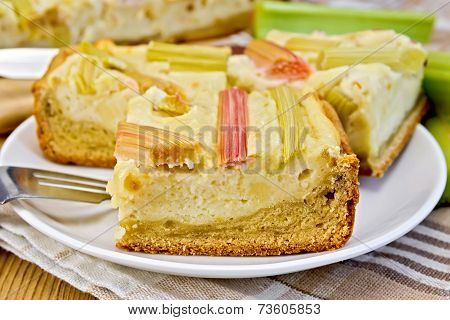 Pie with curd and rhubarb on napkin