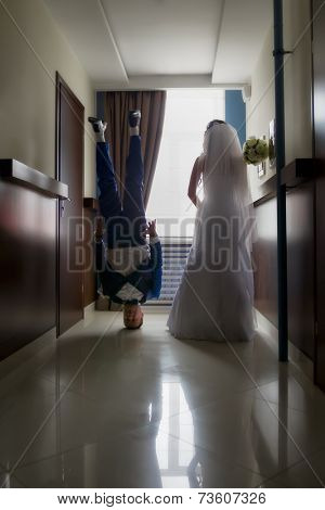 Wedding shot of bride and groom