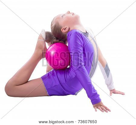Gymnast Doing Exercise With Ball