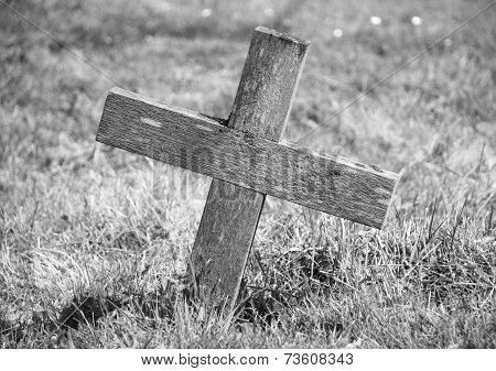 Wooden Cross Marking A Grave