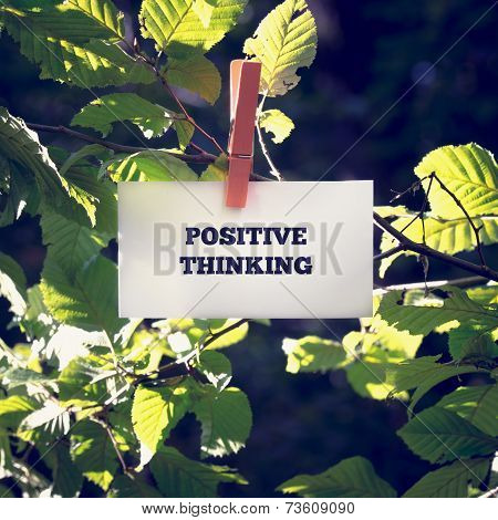 Positive Thinking Message Clipped On Green Plant