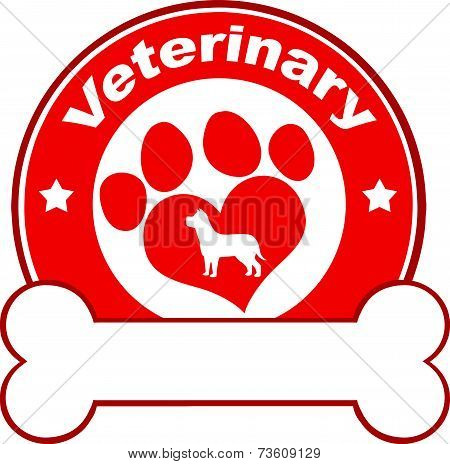 Veterinary Red Circle Label Design With Love Paw Dog And Bone Under Text