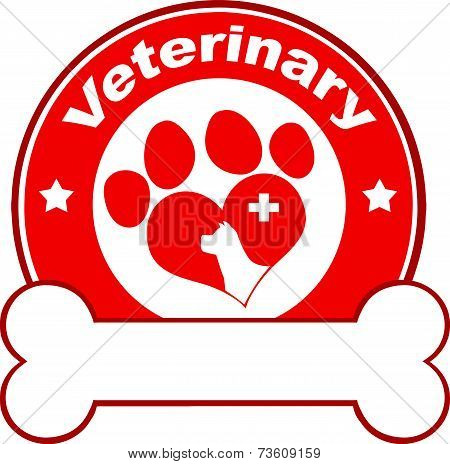 Veterinary Red Circle Label Design With Love Paw Dog, Cross And Bone Under Text