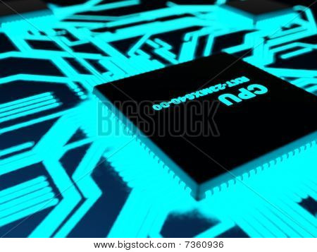 Processor with glowing blue paths