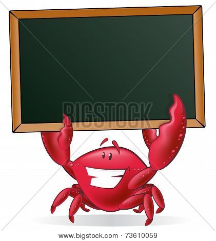 Cute Crab Holding Blank Sign.