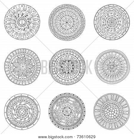 Set of hand drawn circles, vector logo design elements. Doodle style. Style Circle mandala vector bl