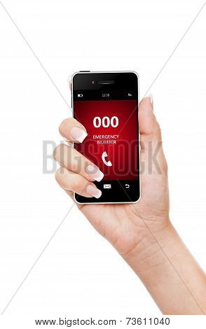 Hand Holding Mobile Phone Emergency Number 000 Isolated Over White