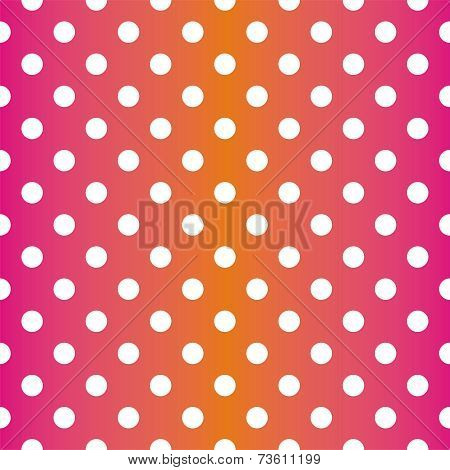 Tile vector pattern with white polka dots on gradient pink and orange background