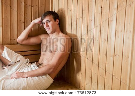 Young Man In The Sauna