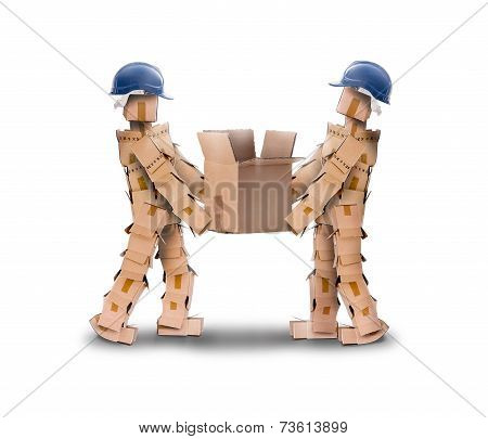 Two Workmen Lifting A Box