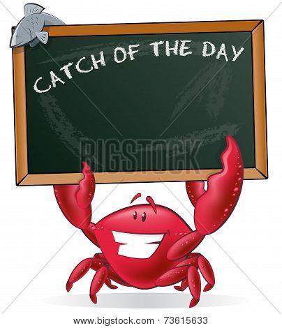 Cute Crab Holding Sign.