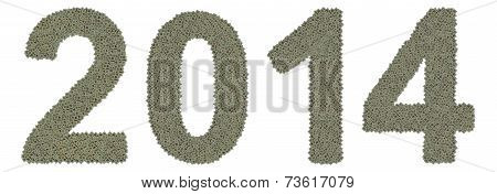 number 2014 made of old and dirty microprocessors