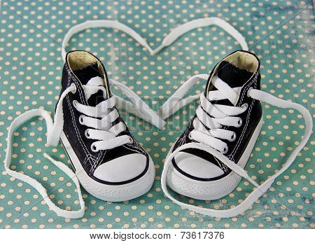 sneakers with heart shoestring