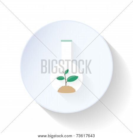 Sprout In Laboratory Flask Flat Icon
