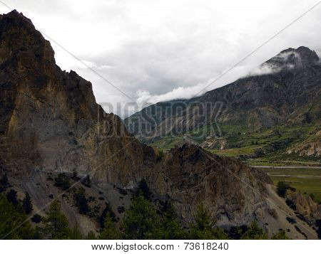 Eroding Mountain Range In A Himalayan Valley