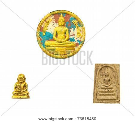 Three Small Buddha Image Used As Amulets