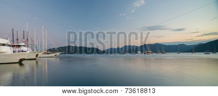 Panorama of the gulf of Marmaris with sail boats and calm sea. Turkey