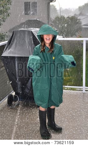 Young Girl in Hailstorm