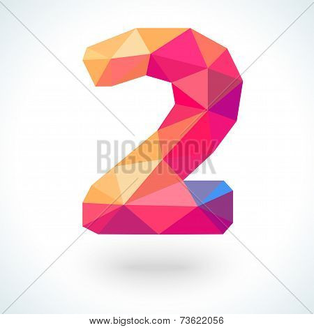 Number two in modern polygonal crystal style. Vector illustration