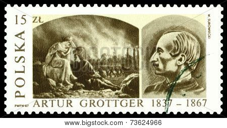 Vintage  Postage Stamp. Ravage, By Artur Grottger.