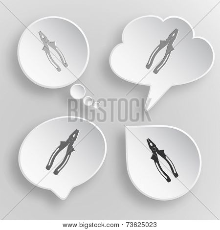 Combination pliers. White flat vector buttons on gray background.