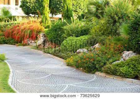 Beautiful landscaping at park