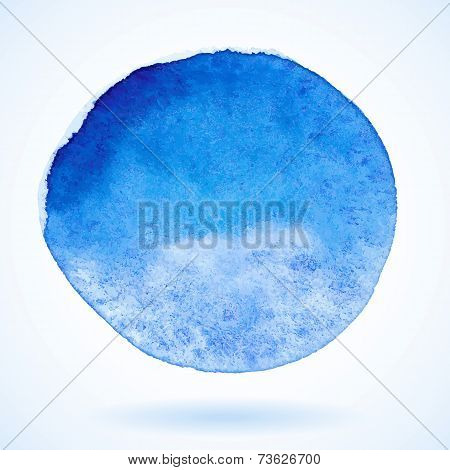 Blue vector isolated watercolor paint circle