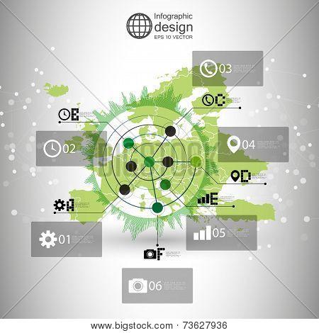 Europe map background vector, infographic design illustration for communication