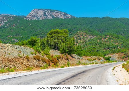 Empty Road In A Mountainous Area