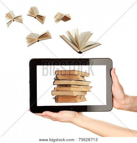 Information transfer.Books flying in tablet isolated on white