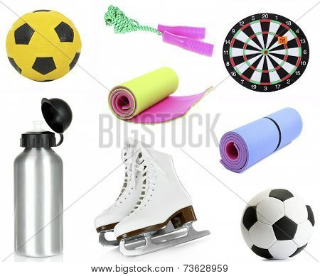 Collage of sporting goods isolated on white
