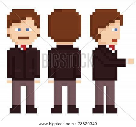 pixel art businessman sprite staying, back and hand shake