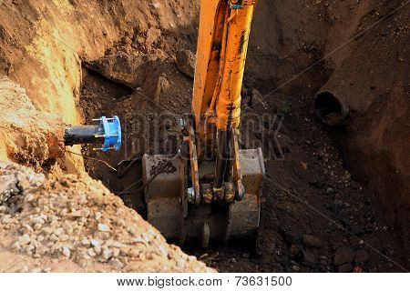 The digging excavator bucket