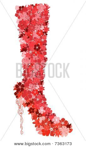 The female boot consisting of flowers